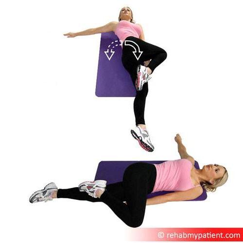 Supine hip rotator stretch