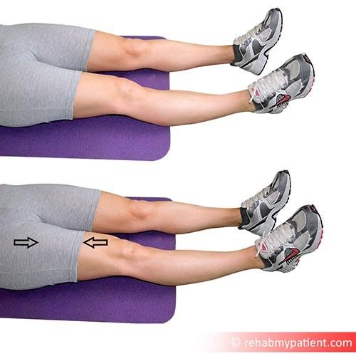 Static quadriceps contraction lying