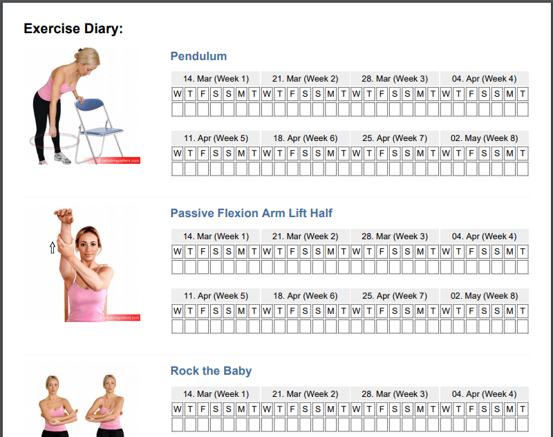 exercise diary rehab my patient